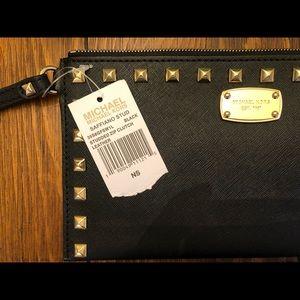 Michael Kors Black Studded Leather Wristlet Wallet